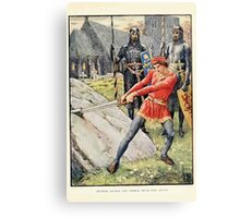 King Arthur's Knights - The Tale Retold for Boys and Girls by Sir Thomas Malory, Illustrated by Walter Crane 27 - Arthur Draws the Sword from the Stone Canvas Print