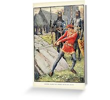 King Arthur's Knights - The Tale Retold for Boys and Girls by Sir Thomas Malory, Illustrated by Walter Crane 27 - Arthur Draws the Sword from the Stone Greeting Card