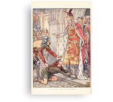 King Arthur's Knights - The Tale Retold for Boys and Girls by Sir Thomas Malory, Illustrated by Walter Crane 8 - Young Owen Appeals to the King Canvas Print