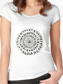 Spiny graphic black and white mandala Women's Fitted Scoop T-Shirt