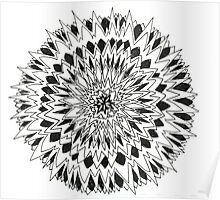 Spiny graphic black and white mandala Poster