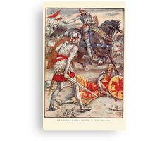 King Arthur's Knights - The Tale Retold for Boys and Girls by Sir Thomas Malory, Illustrated by Walter Crane 363 - Sir Lancelot Forbids Sir Born to Slay the King Canvas Print