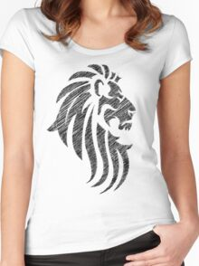 Lion Tribal Tattoo Style Distressed Design  Women's Fitted Scoop T-Shirt