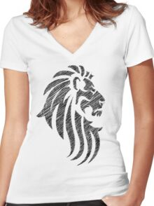 Lion Tribal Tattoo Style Distressed Design  Women's Fitted V-Neck T-Shirt