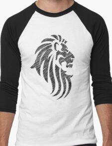 Lion Tribal Tattoo Style Distressed Design  Men's Baseball ¾ T-Shirt