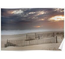 Sunset through a storm over Emerald Isle, North Carolina Poster