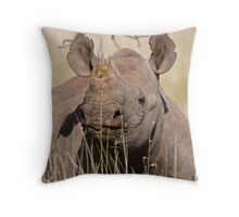 Black Rhino at Lewa Throw Pillow