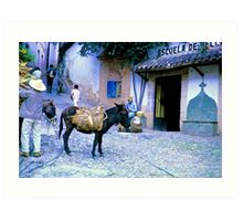 Burro and a School Art Print