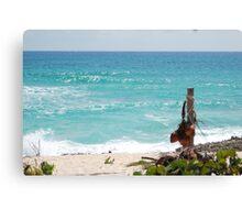 Turquoise Caribbean Sea Waves Canvas Print