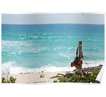 Turquoise Caribbean Sea Waves Poster