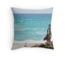 Turquoise Caribbean Sea Waves Throw Pillow