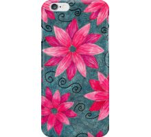 Pink Flowers on Blue iPhone Case/Skin