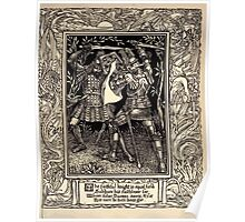 Spenser's Faerie queene A poem in six books with the fragment Mutabilitie Ed by Thomas J Wise, pictured by Walter Crane 1895 V1 193 - The Faithful Knight in Equal Field Poster