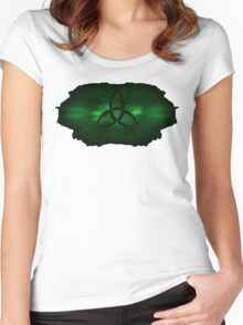 Kryptonite Green Triquetra Type A Women's Fitted Scoop T-Shirt
