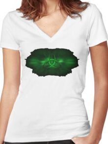 Kryptonite Green Triquetra Type C Women's Fitted V-Neck T-Shirt