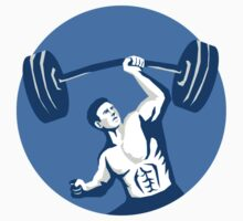 Strongman Lifting Barbell One Hand Stencil by patrimonio