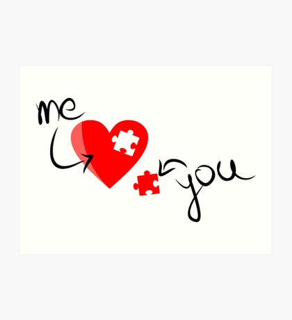 Missing Puzzle Piece, Heart Puzzle - Me / You Love Design Art Print