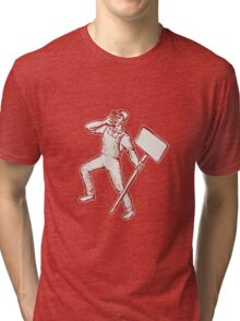 Protester Activist Union Worker Shouting Placard Etching Tri-blend T-Shirt