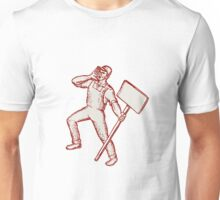 Protester Activist Union Worker Shouting Placard Etching Unisex T-Shirt