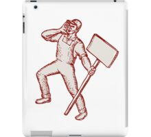 Protester Activist Union Worker Shouting Placard Etching iPad Case/Skin