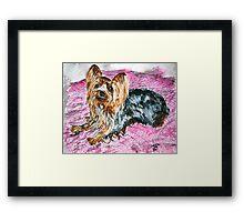 yorkshire terrier art painting Framed Print