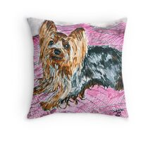 yorkshire terrier art painting Throw Pillow