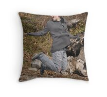 My sister jumping Throw Pillow