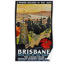Vintage Brisbane Travel Poster Poster