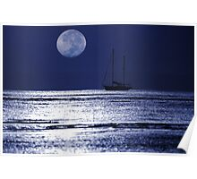 Hervey Bay Moonset Poster