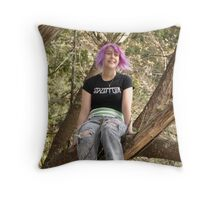 Smiling sister in the trees Throw Pillow