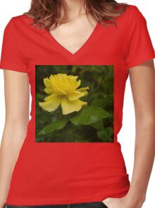 Yellow Rose Pearls Women's Fitted V-Neck T-Shirt