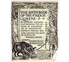 Spenser's Faerie queene A poem in six books with the fragment Mutabilitie Ed by Thomas J Wise, pictured by Walter Crane 1895 V6 13 - Sixth Book Title Plate Poster