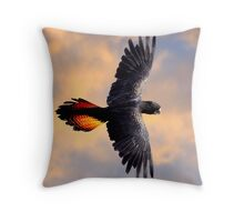 Red Tail Black Cockatoo - Flight Throw Pillow