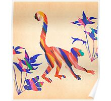 Exotic Monkey Paintbrush Rainbow Collage Poster