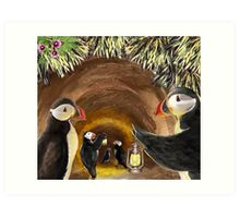 Puffins in the Tunnel Art Print