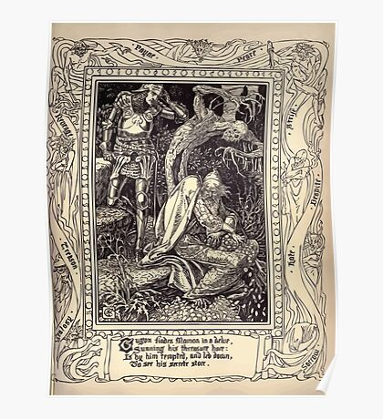 Spenser's Faerie queene A poem in six books with the fragment Mutabilitie Ed by Thomas J Wise, pictured by Walter Crane 1895 V2 151 - Guyon Finds Mamon in a Delve Poster