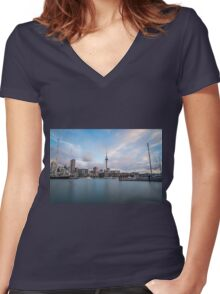 Auckland City Long Exposure Women's Fitted V-Neck T-Shirt