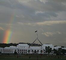 Rainbow on Parliament by Sally Haldane