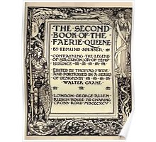 Spenser's Faerie queene A poem in six books with the fragment Mutabilitie Ed by Thomas J Wise, pictured by Walter Crane 1895 V2 11 - Second Book Title Plate Poster