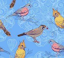 pattern with birds and mandala background by Nadiiaz