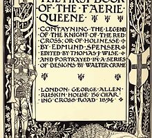 Spenser's Faerie queene A poem in six books with the fragment Mutabilitie Ed by Thomas J Wise, pictured by Walter Crane 1895 V1 97 - First Book Title Plate by wetdryvac