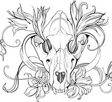 black and white animal skull with flowers in graphic style by Nadiiaz