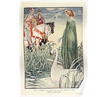 King Arthur's Knights - The Tale Retold for Boys and Girls by Sir Thomas Malory, Illustrated by Walter Crane 55 - King Arthur Asks the Lady of the Lake for the Sword Excalibur Poster