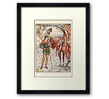 King Arthur's Knights - The Tale Retold for Boys and Girls by Sir Thomas Malory, Illustrated by Walter Crane 199 - Young Perceval Questions Sir Owen Framed Print