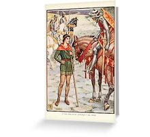 King Arthur's Knights - The Tale Retold for Boys and Girls by Sir Thomas Malory, Illustrated by Walter Crane 199 - Young Perceval Questions Sir Owen Greeting Card