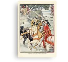 King Arthur's Knights - The Tale Retold for Boys and Girls by Sir Thomas Malory, Illustrated by Walter Crane 109 - Beaumains Wins the Fight at the Ford Canvas Print