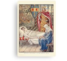 King Arthur's Knights - The Tale Retold for Boys and Girls by Sir Thomas Malory, Illustrated by Walter Crane 135 - The Witch Gives advice as to Sir Tristram's Wound Canvas Print