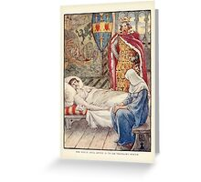 King Arthur's Knights - The Tale Retold for Boys and Girls by Sir Thomas Malory, Illustrated by Walter Crane 135 - The Witch Gives advice as to Sir Tristram's Wound Greeting Card