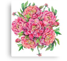 bouquet of peony flowers with decoration of leaves and branches 2 Canvas Print
