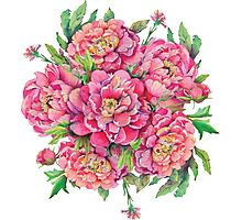 bouquet of peony flowers with decoration of leaves and branches 2 Photographic Print